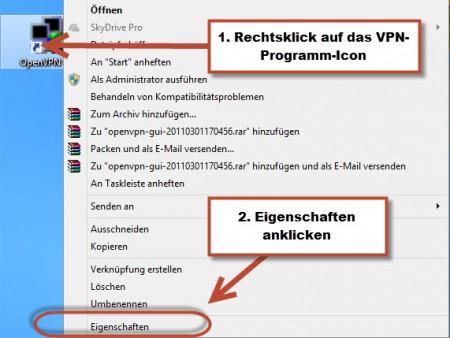 Eigenschaften von OpenVPN Client GUI aufrufen