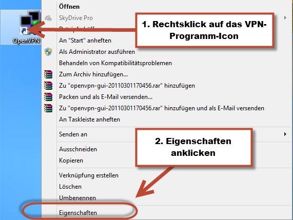 Einstellungen von OpenVPN Client GUI aufrufen