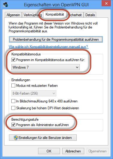 OpenVPN GUI mit höheren Rechten ausstatten
