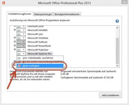 Microsoft SkyDrive Pro bei der Installation deaktivieren