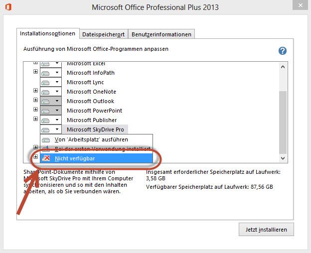 Microsoft Sky Drive Pro bei der Installation deaktivieren