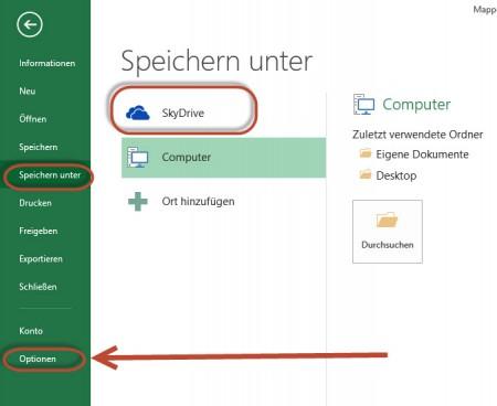 Microsoft Office 2013 will immer noch in die SkyDrive Cloud speichern