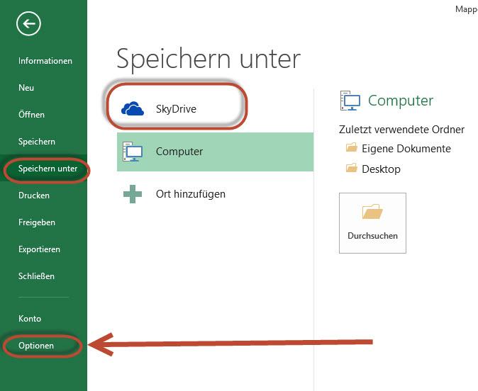 Microsoft Office 2013 will immer noch in die Sky Drive Cloud speichern