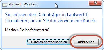 Die Festplatte darf nicht von Windows formatiert werden