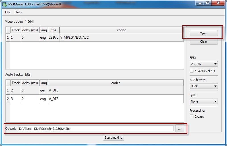 PS3Muxer öffnen und die MKV-Datei auswählen