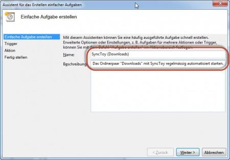 SyncToy Automatisierung - Namen und Beschreibung hinzufügen