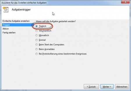SyncToy Automatisierung - Häufigkeit des Tasks festlegen