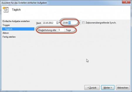 SyncToy Automatisierung - Startzeit und Intervall auswählen